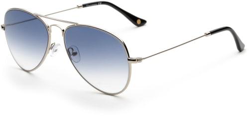 Silvriga pilotsolglasögon med gråblått glas.