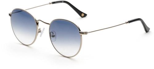 Runde sølvfargede solbriller med gråblått glass