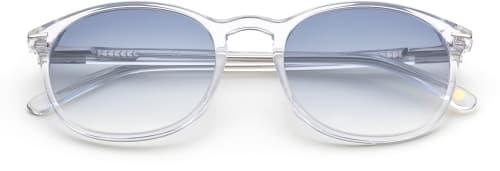 Märkessolglasögon med transparenta bågar och blåa glas