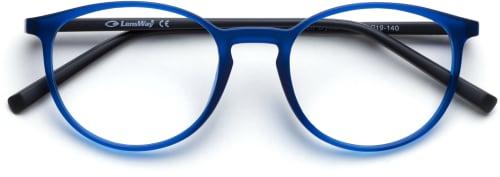 pyöreät siniset silmälasit, joissa on hieman kissansilmää