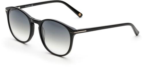 Svarte solbriller med svart glass med en svak cateye-touch