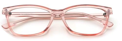 Transparanta rosa glasögonbågar