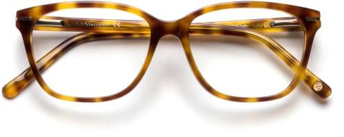 Horninnfattede spraglete briller i firkantet modell