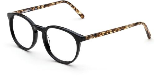 Svarta hornbågade glasögon med sköldpaddsmönstrade detaljer