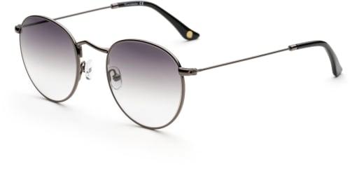 Tunna runda solglasögon med metallbågar och svarta glas