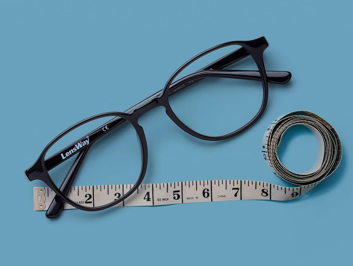 Mät bredden på dina gamla glasögon